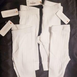 4 pairs, White Pants /leggings Baby Girls